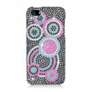 Hard Plastic Bling Rhinestone Snap On Case Cover for Apple iPhone 5 - Colorful Circles