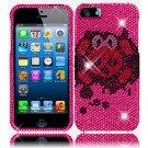 Hard Plastic Bling Rhinestone Snap On Case Cover for Apple iPhone 5 - Girly's Skull