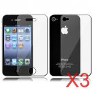 3 Premium Front & Back Clear LCD Screen Protector for Apple iPhone 5 6th Gen Phone