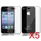5 Premium Front & Back Clear LCD Screen Protector for Apple iPhone 5 6th Gen Phone
