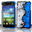 Hard Plastic Rubberized Snap On Case Cover for LG Escape P870 (AT&T) – Silver & Blue Vines