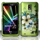 Hard Plastic 2-Piece Rubberized Snap On Design Case for LG Spectrum - Flowers & Butterfly