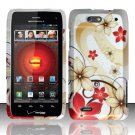 Hard Plastic Rubber Feel Design Case for Motorola Droid 4 XT894 (Verizon) - Red and Gold Flowers