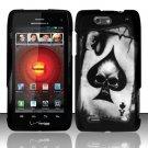 Hard Plastic Rubber Feel Design Case for Motorola Droid 4 XT894 (Verizon) - Ace of Spade Skull