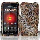 Hard Plastic Bling Rhinestone Design Case for Motorola Droid 4 (Verizon) - Golden Cheetah