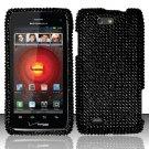 Hard Plastic Bling Rhinestone Design Case for Motorola Droid 4 (Verizon) - Solid Black