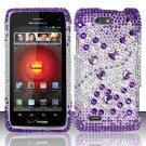 Hard Plastic Bling Rhinestone Design Case for Motorola Droid 4 (Verizon) - Purple & Silver