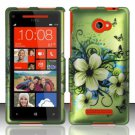 Hard Plastic Snap On Case Cover HTC Windows Phone 8X (Verizon/AT&T/T-Mobile) – Flowers & Butterfly