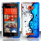 Hard Plastic Snap On Case Cover for HTC Windows Phone 8X (Verizon/AT&T/T-Mobile) – Blue Vines