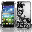 Hard Plastic Rubberized Snap On Case Cover for LG Escape P870 (AT&T) – Black Vines
