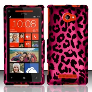 Hard Plastic Snap On Case Cover HTC Windows Phone 8X (Verizon/AT&T/T-Mobile) � Hot Pink Leopard