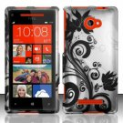 Hard Plastic Snap On Case Cover HTC Windows Phone 8X (Verizon/AT&T/T-Mobile)  Black Vines