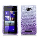 Hard Plastic Bling Case Cover for HTC Windows Phone 8X (Verizon/AT&T/T-Mobile) - Purple Waterfall