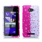 Hard Plastic Bling Case Cover for HTC Windows Phone 8X (Verizon/AT&T/T-Mobile) - Silver & Pink