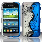 Hard Plastic Rubberized Snap On Case Cover for Samsung Galaxy Victory 4G LTE (Sprint) - Blue Vines