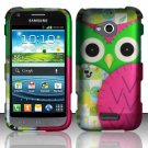 Hard Plastic Rubberized Snap On Case Cover for Samsung Galaxy Victory 4G LTE (Sprint) - Green Owl