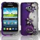 Hard Plastic Rubberized Snap On Case Cover for Samsung Galaxy Victory 4G LTE (Sprint) - Purple Vines