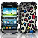 Hard Plastic Rubberized Snap On Case for Samsung Galaxy Victory 4G LTE (Sprint) - Rainbow Leopard