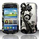 Hard Plastic Snap On Case Cover for Samsung Galaxy Stellar 4G i200 (Verizon) - Silver & Black Vines