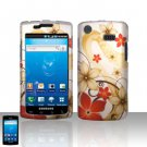 Hard Plastic Rubber Feel Design Case Cover for Samsung Galaxy S Captivate i897 (AT&T) - Gold Flowers