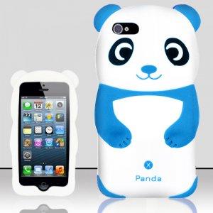 Panda Bear Soft Gel Rubber Skin Case Cover for Apple iPhone 5 6th Gen Phone - Light Blue