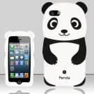 Panda Bear Soft Gel Rubber Skin Case Cover for Apple iPhone 5 6th Gen Phone - Black