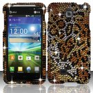 Hard Plastic Bling Rhinestone Snap On Case Cover for LG Escape P870 (AT&T) – Golden Cheetah
