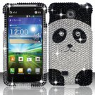 Hard Plastic Bling Rhinestone Snap On Case Cover for LG Escape P870 (AT&T) – Cute Panda Bear