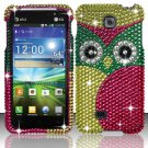 Hard Plastic Bling Rhinestone Snap On Case Cover for LG Escape P870 (AT&T) – Starry Green Owl