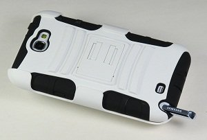 Rugged Armor Hybrid Hard Case w/ Belt Clip Holster for Samsung Galaxy Note 2 II N7100 - White