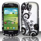 Hard Plastic Snap On Case Cover for Samsung Stratosphere 2 i415 (Verizon) - Silver & Black Vines
