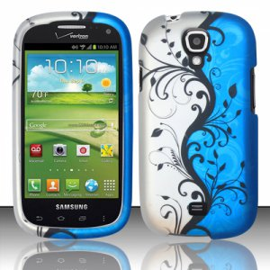Hard Plastic Snap On Case Cover for Samsung Stratosphere 2 i415 (Verizon) - Silver & Blue Vines