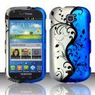 Hard Plastic Snap On Case Cover for Samsung Galaxy Stellar 4G i200 (Verizon) - Silver & Blue Vines