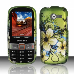 Hard Plastic Rubberized Snap On Case Cover for Samsung Array/Montage M390 � Flowers & Butterfly