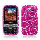 Hard Plastic Bling Snap On Case Cover Samsung Array/Montage M390 – Hot Pink Hearts