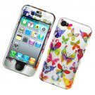 Hard Plastic Glossy Design Case Cover for Apple iPhone 4/4S - Rainbow Butterfly