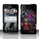 Hard Plastic Rubber Feel Design Case for Motorola Droid 3 - Mysterious Flowers