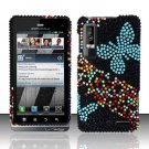 Hard Plastic Bling Rhinestone Design Case for Motorola Droid 3 - Blue Butterfly