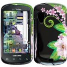 Hard Plastic Design Case for Samsung Stratosphere i405 - Black and Green Flower