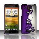 Hard Plastic Snap On Case Cover for HTC Droid DNA 6435 (Verizon) - Silver Purple Vines