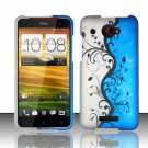 Hard Plastic Snap On Case Cover for HTC Droid DNA 6435 (Verizon) - Silver Blue Vines