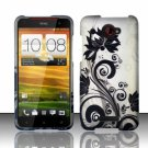 Hard Plastic Snap On Case Cover for HTC Droid DNA 6435 (Verizon) - Silver Black Vines