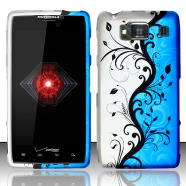Hard Plastic Snap On Case Cover for Motorola Droid RAZR HD XT926 (Verizon) - Blue Vines