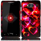 Hard Plastic Snap On Case Cover for Motorola Droid RAZR HD XT926 (Verizon) - Rainbow Hearts