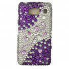 Hard Plastic Snap On Bling Case Cover for Motorola Droid RAZR HD XT926 (Verizon) - Purple & Silver