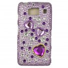 Hard Plastic Snap On Bling Case Cover for Motorola Droid RAZR HD XT926 (Verizon) - Purple Heart
