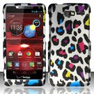 Hard Plastic Snap On Case Cover Motorola Droid RAZR M 4G LTE XT907 (Verizon) - Rainbow Leopard