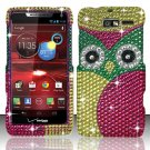 Hard Plastic Snap On Bling Case Cover for Motorola Droid RAZR M 4G LTE XT907 (Verizon) - Starry Owl