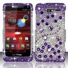 Hard Plastic Snap On Bling Case Cover Motorola Droid RAZR M 4G LTE XT907 (Verizon) - Purple & Silver