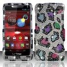 Hard Plastic Snap On Bling Case Cover Motorola Droid RAZR M 4G LTE XT907 (Verizon) - Rainbow Leopard